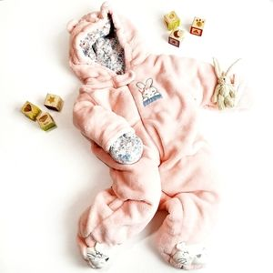 3-6 Months Pink Bunny Baby Bunting Snow Suit